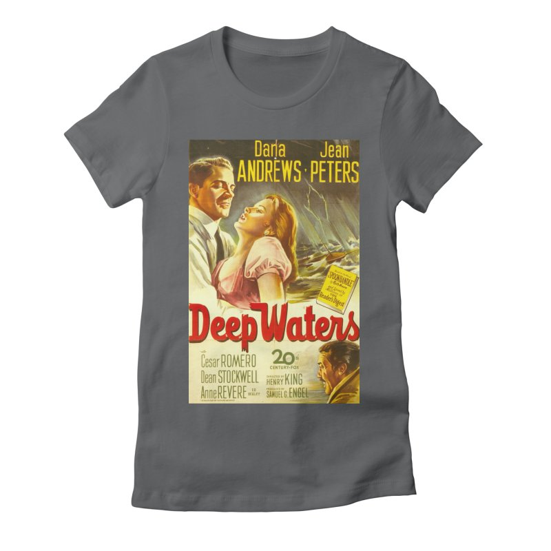 Deep Waters, vintage movie poster Women's Fitted T-Shirt by ALMA VISUAL's Artist Shop