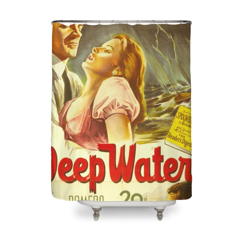 Deep Waters, vintage movie poster Home Shower Curtain by ALMA VISUAL's Artist Shop