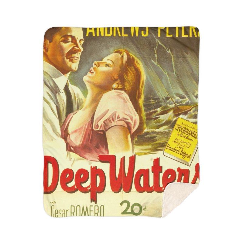 Deep Waters, vintage movie poster Home Sherpa Blanket Blanket by ALMA VISUAL's Artist Shop