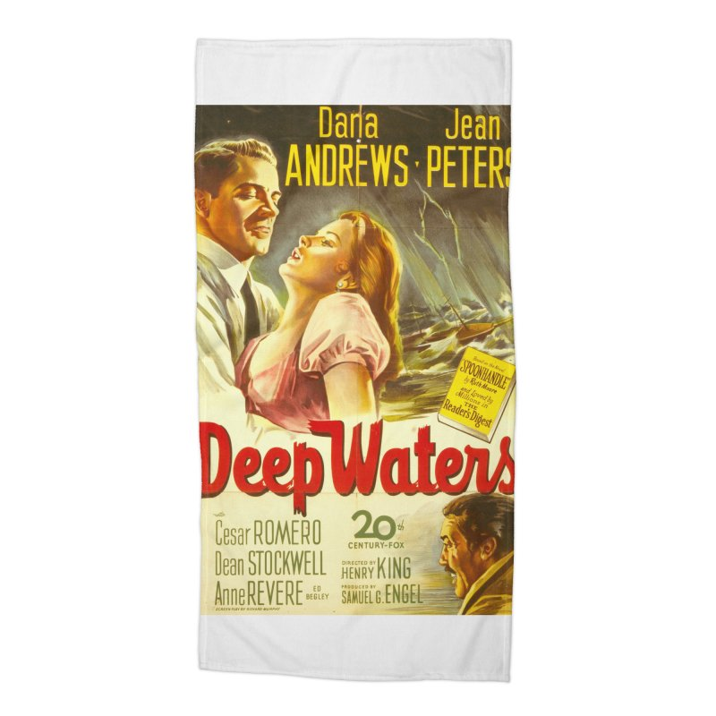 Deep Waters, vintage movie poster Accessories Beach Towel by ALMA VISUAL's Artist Shop