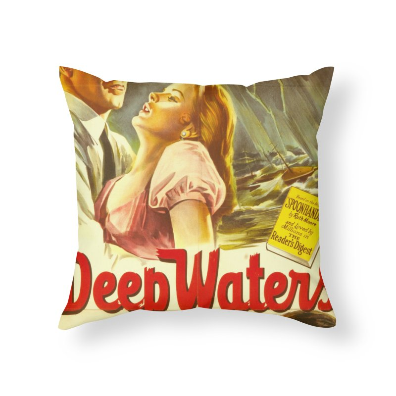 Deep Waters, vintage movie poster Home Throw Pillow by ALMA VISUAL's Artist Shop