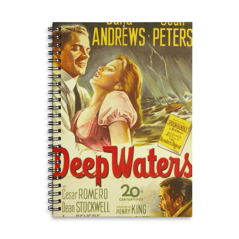 Deep Waters, vintage movie poster Accessories Lined Spiral Notebook by ALMA VISUAL's Artist Shop