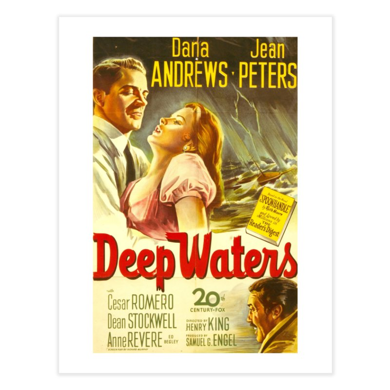 Deep Waters, vintage movie poster Home Fine Art Print by ALMA VISUAL's Artist Shop