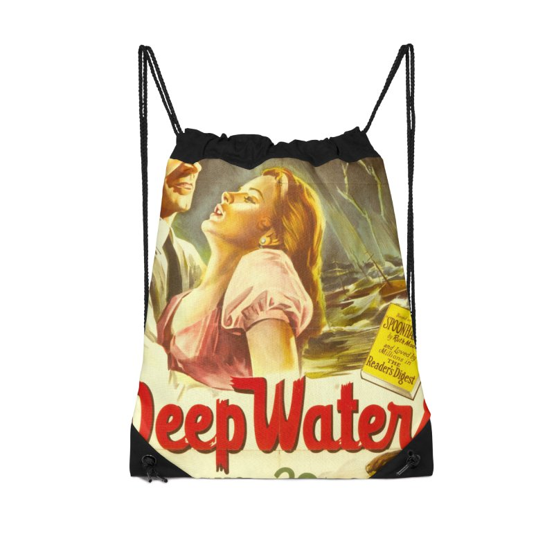 Deep Waters, vintage movie poster Accessories Drawstring Bag Bag by ALMA VISUAL's Artist Shop