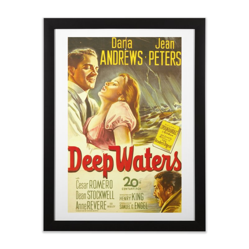 Deep Waters, vintage movie poster Home Framed Fine Art Print by ALMA VISUAL's Artist Shop