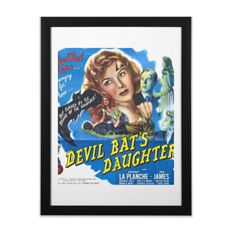 Devil Bat's Daughter, vintage horror movie poster Home Framed Fine Art Print by ALMA VISUAL's Artist Shop