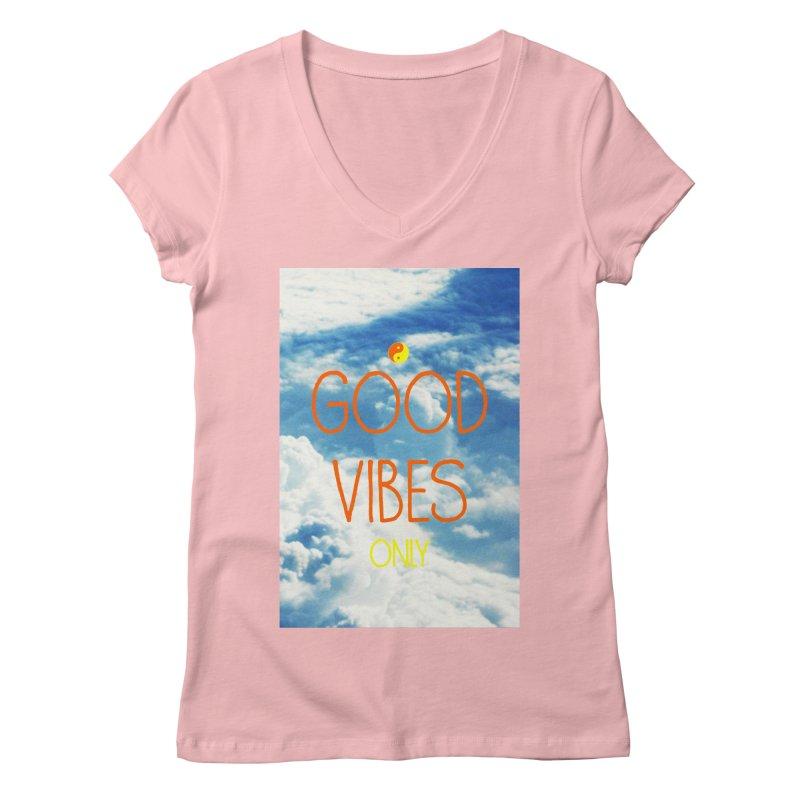 Good Vibes Only, sky Women's Regular V-Neck by ALMA VISUAL's Artist Shop