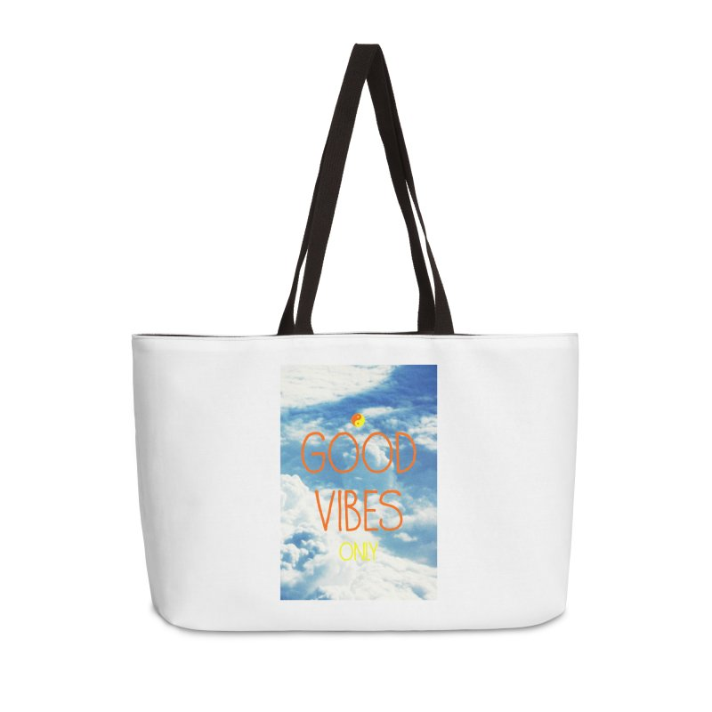 Good Vibes Only, sky Accessories Weekender Bag Bag by ALMA VISUAL's Artist Shop