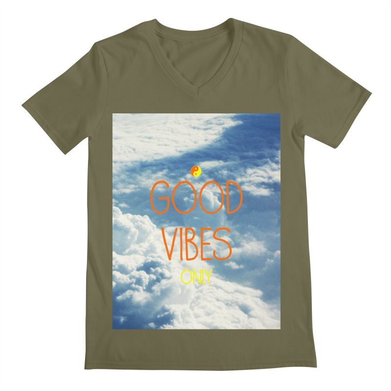 Good Vibes Only, sky Men's V-Neck by ALMA VISUAL's Artist Shop