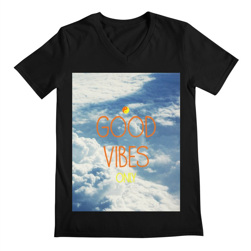 Good Vibes Only, sky Men's Regular V-Neck by ALMA VISUAL's Artist Shop