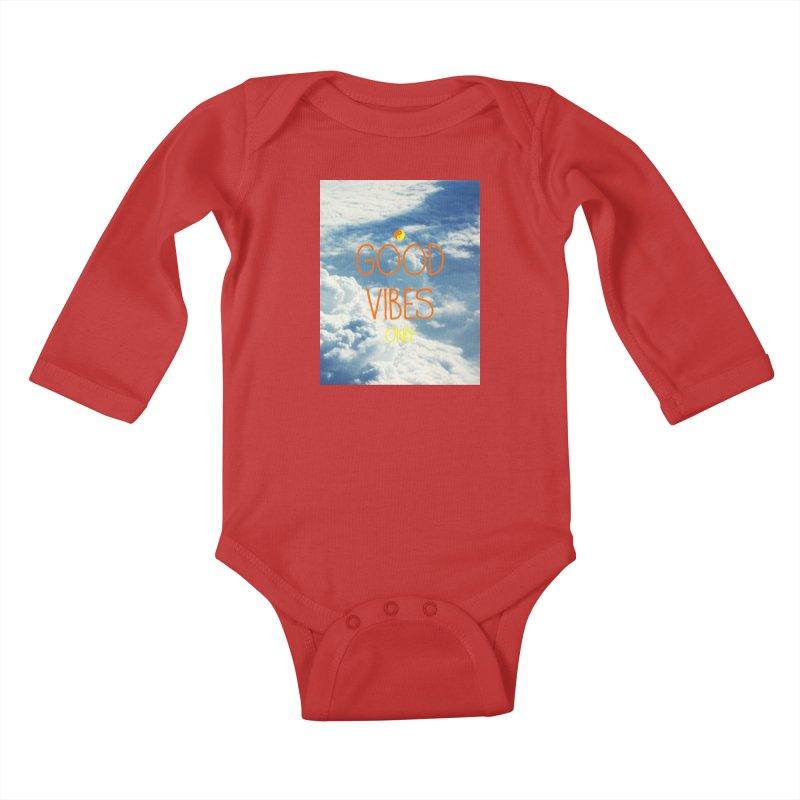 Good Vibes Only, sky Kids Baby Longsleeve Bodysuit by ALMA VISUAL's Artist Shop