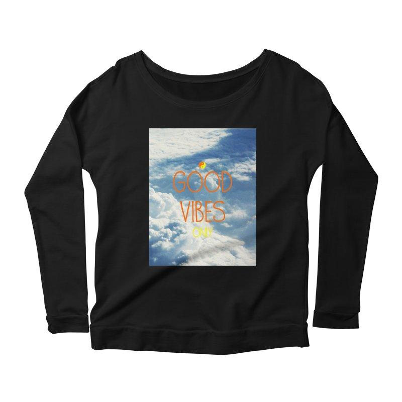 Good Vibes Only, sky Women's Longsleeve Scoopneck  by ALMA VISUAL's Artist Shop