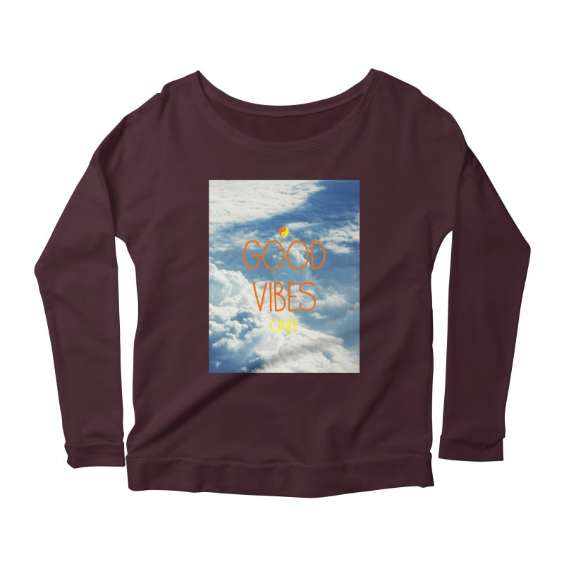 Good Vibes Only, sky Women's Longsleeve Scoopneck  by ALMA VISUAL's Artist Shop
