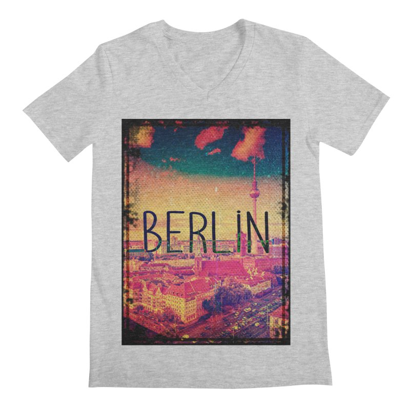 Berlin, vintage Men's Regular V-Neck by ALMA VISUAL's Artist Shop