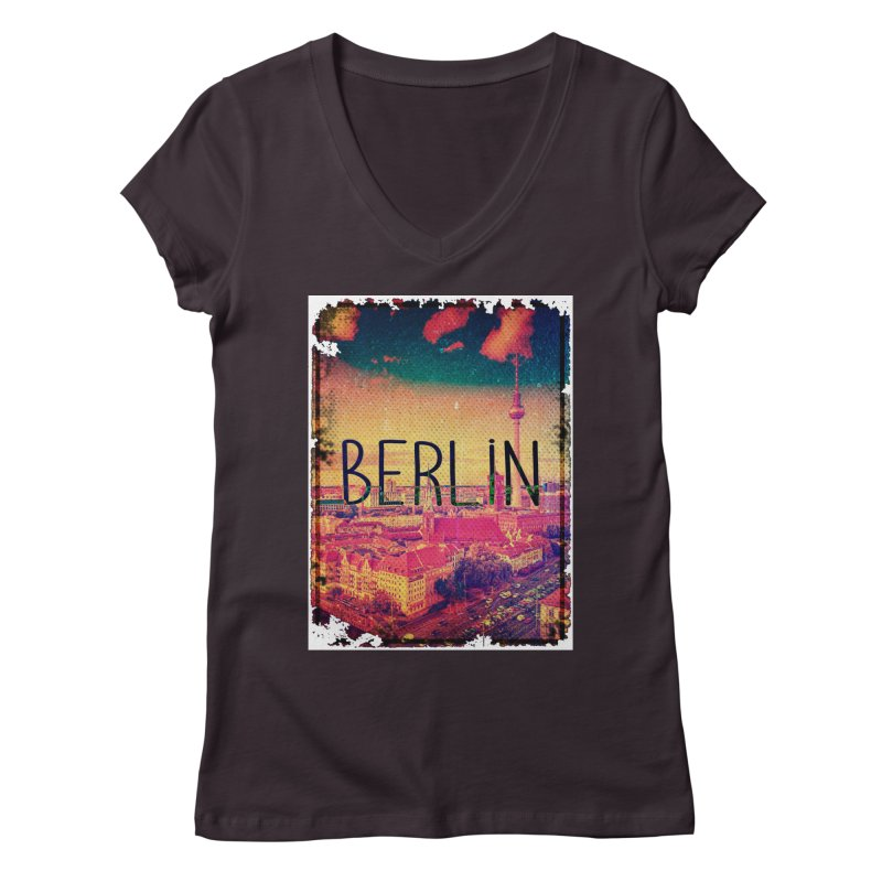 Berlin, vintage Women's Regular V-Neck by ALMA VISUAL's Artist Shop