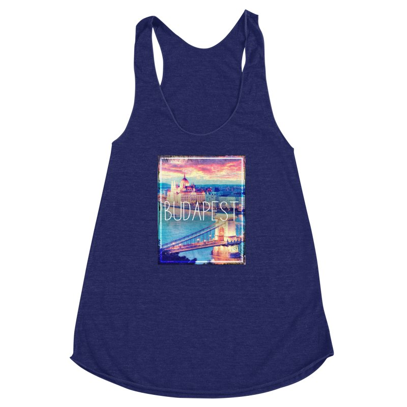 Budapest, Hungary, vintage Women's Racerback Triblend Tank by ALMA VISUAL's Artist Shop