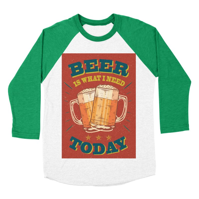 Beer is what i need today, vintage poster Men's Baseball Triblend Longsleeve T-Shirt by ALMA VISUAL's Artist Shop