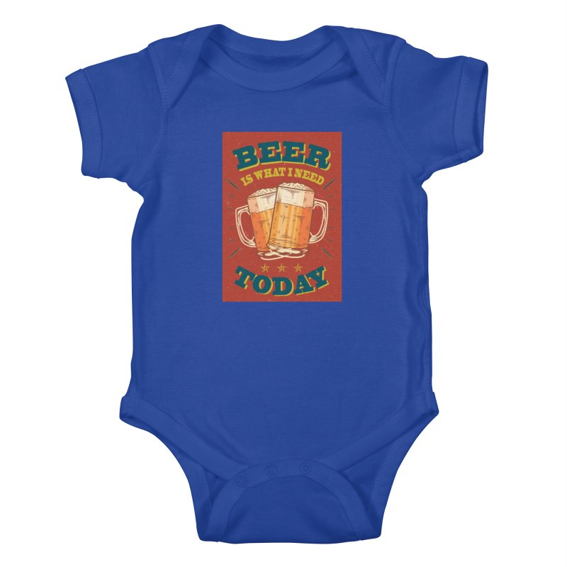 Beer is what i need today, vintage poster Kids Baby Bodysuit by ALMA VISUAL's Artist Shop