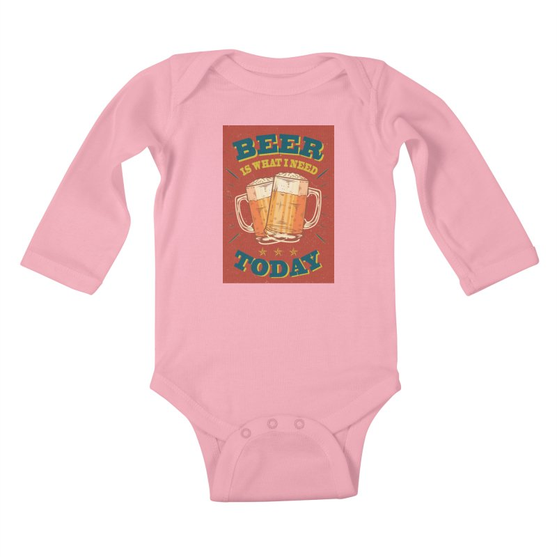 Beer is what i need today, vintage poster Kids Baby Longsleeve Bodysuit by ALMA VISUAL's Artist Shop