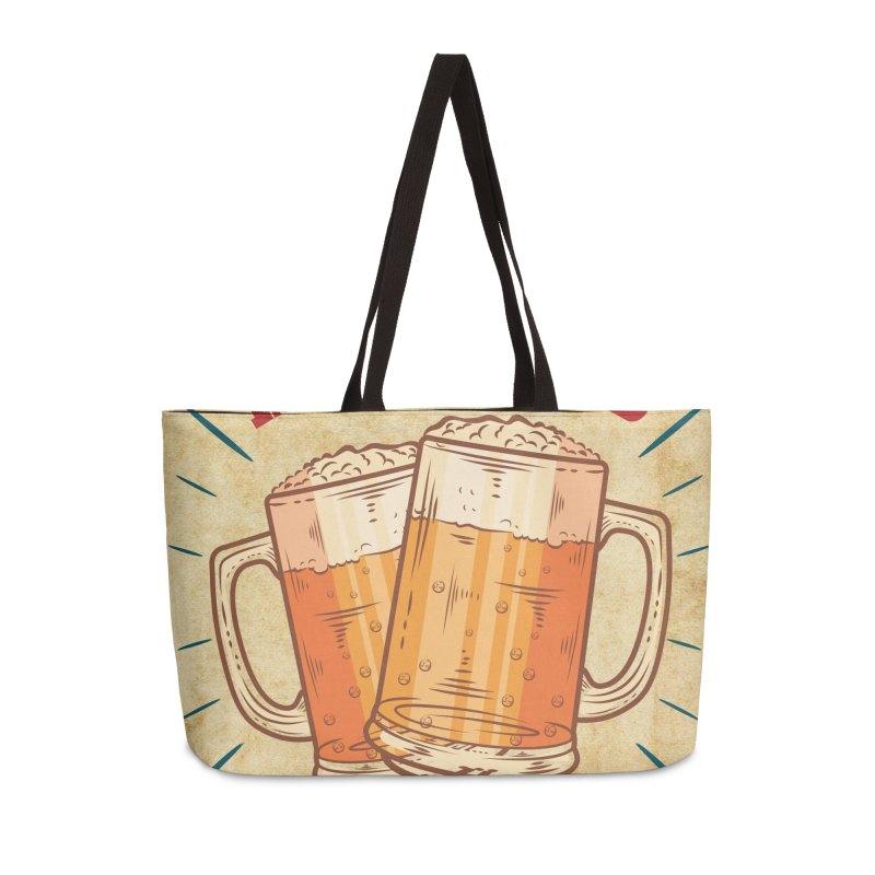 Beer is what i need today, vintage poster, old paper texture Accessories Weekender Bag Bag by ALMA VISUAL's Artist Shop
