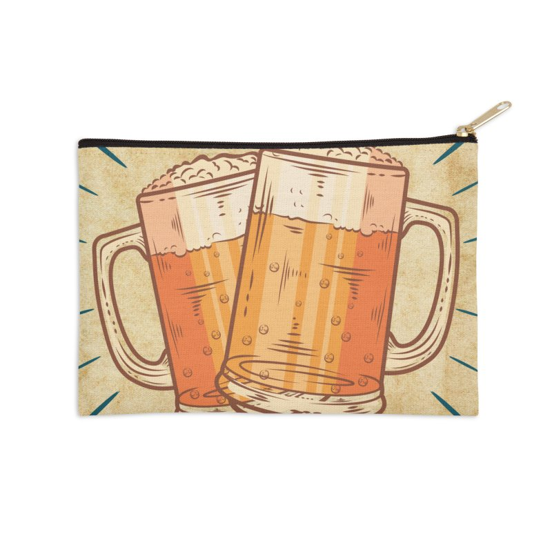 Beer is what i need today, vintage poster, old paper texture Accessories Zip Pouch by ALMA VISUAL's Artist Shop