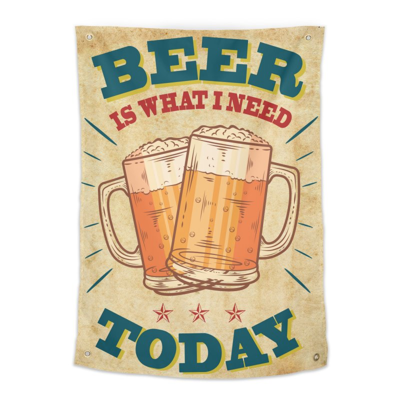 Beer is what i need today, vintage poster, old paper texture Home Tapestry by ALMA VISUAL's Artist Shop