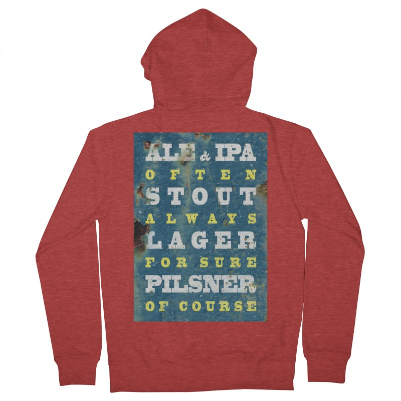 Beer always, metal background poster Men's Zip-Up Hoody by ALMA VISUAL's Artist Shop