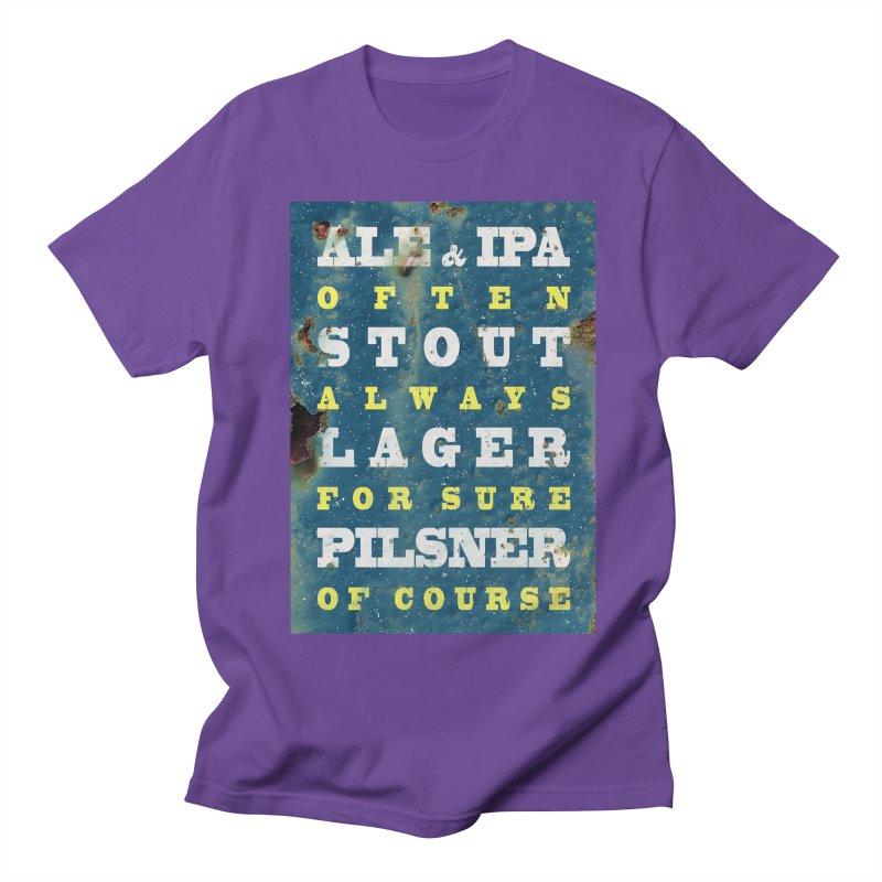 Beer always, metal background poster Men's Regular T-Shirt by ALMA VISUAL's Artist Shop