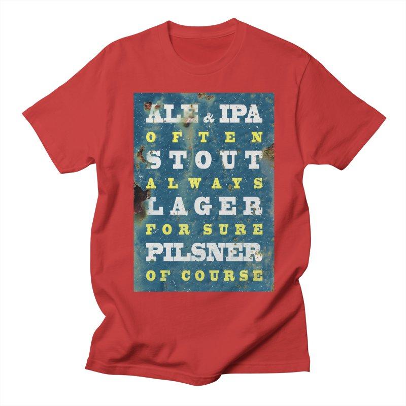 Beer always, metal background poster Men's T-Shirt by ALMA VISUAL's Artist Shop