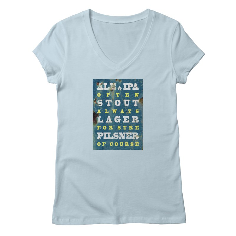 Beer always, metal background poster Women's V-Neck by ALMA VISUAL's Artist Shop
