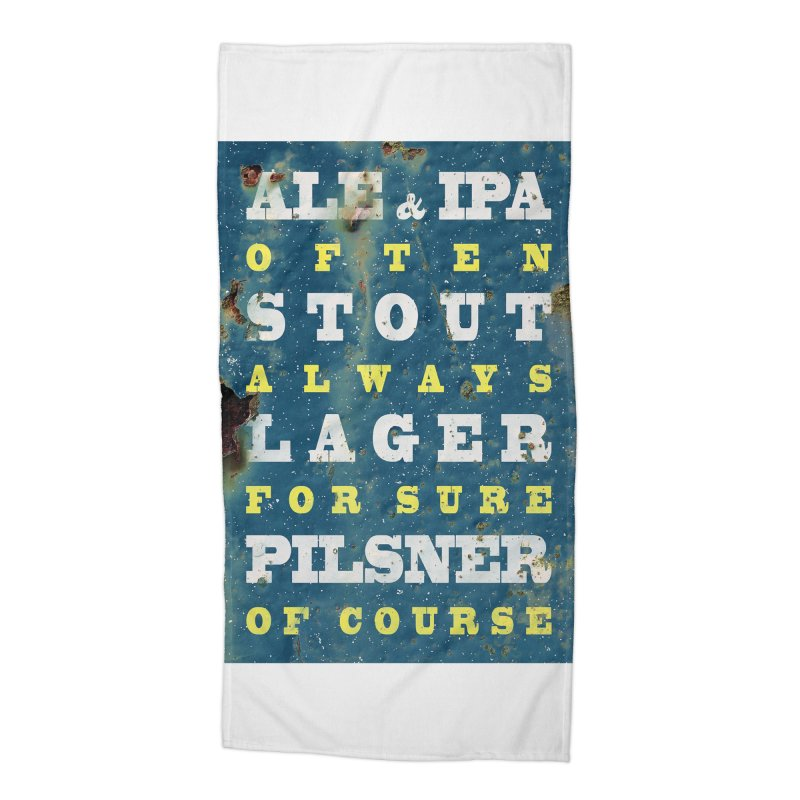 Beer always, metal background poster Accessories Beach Towel by ALMA VISUAL's Artist Shop
