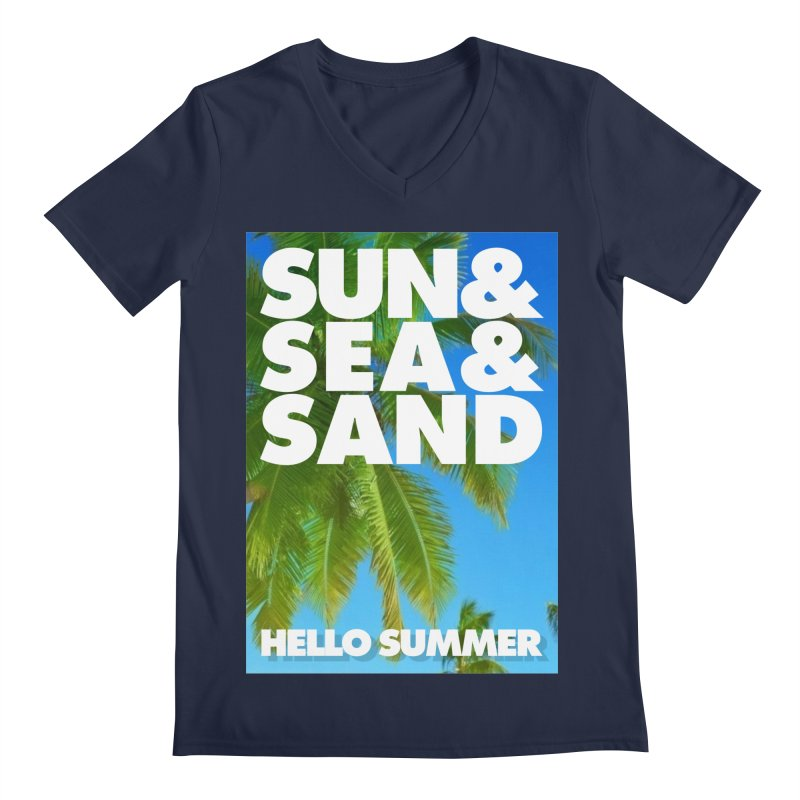 Hello Summer Men's Regular V-Neck by ALMA VISUAL's Artist Shop