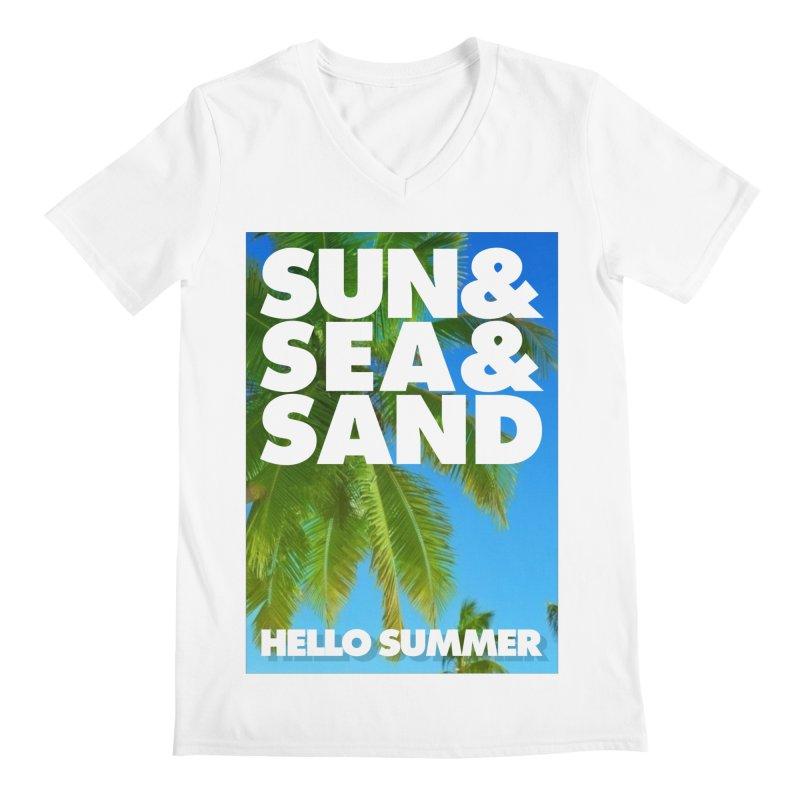 Hello Summer Men's Regular V-Neck by ALMA VISUAL's Artist Shop