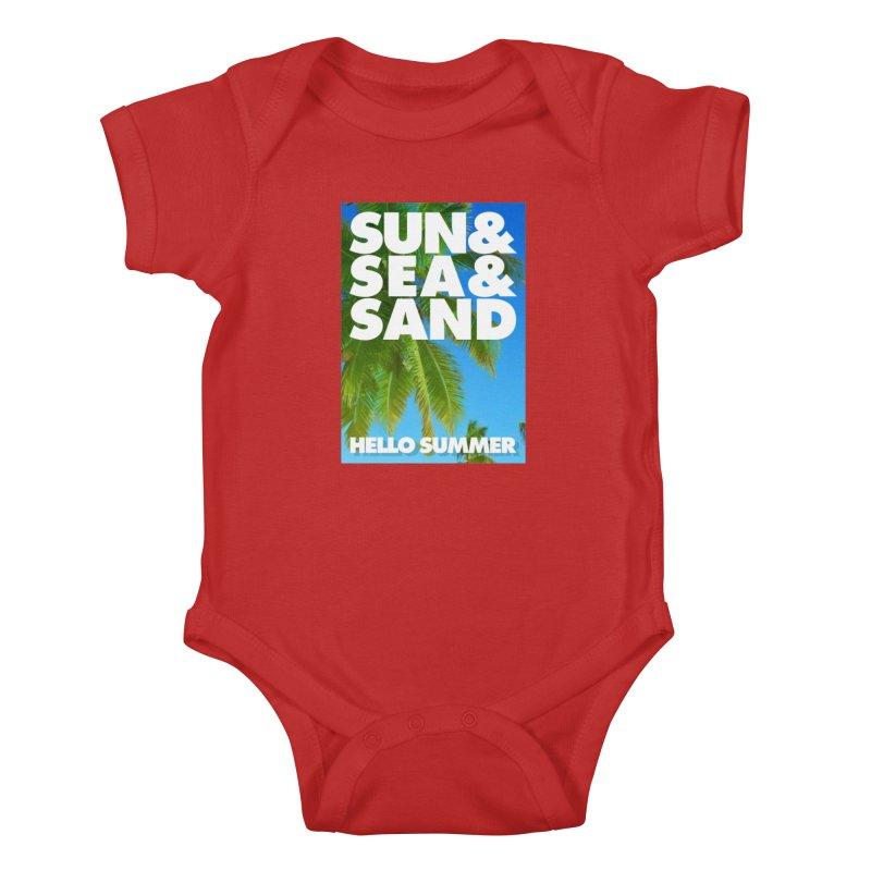 Hello Summer Kids Baby Bodysuit by ALMA VISUAL's Artist Shop