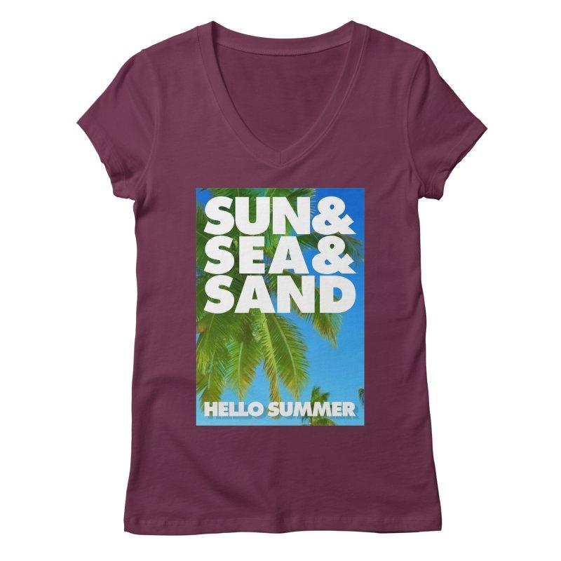 Hello Summer Women's Regular V-Neck by ALMA VISUAL's Artist Shop