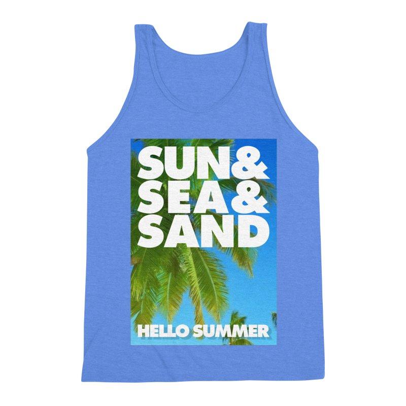Hello Summer Men's Triblend Tank by ALMA VISUAL's Artist Shop