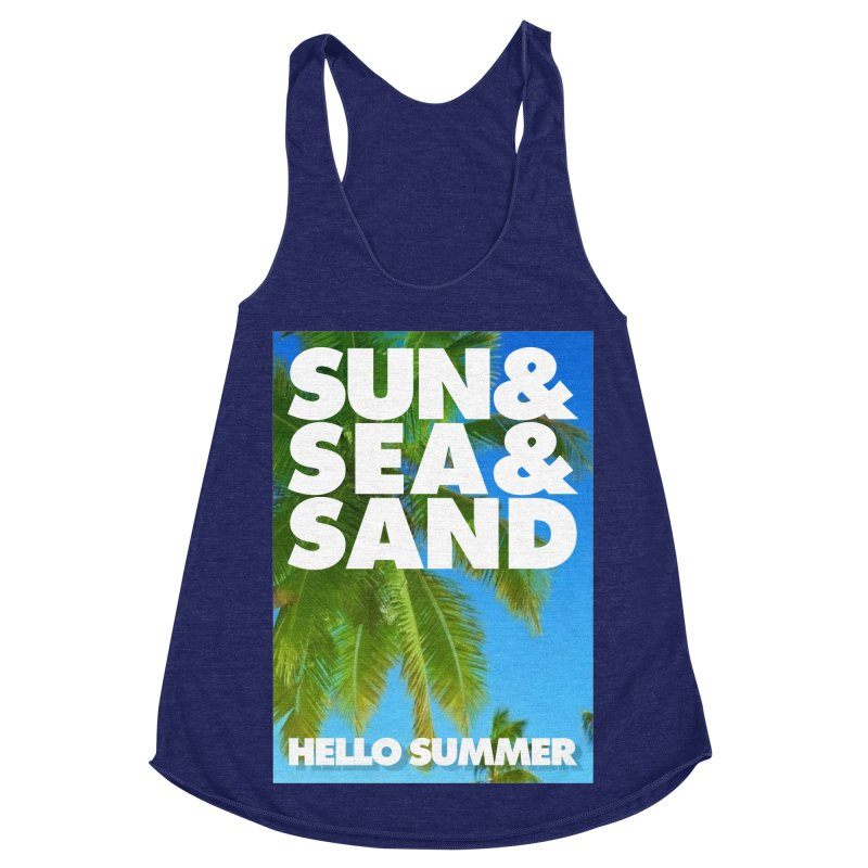 Hello Summer Women's Racerback Triblend Tank by ALMA VISUAL's Artist Shop