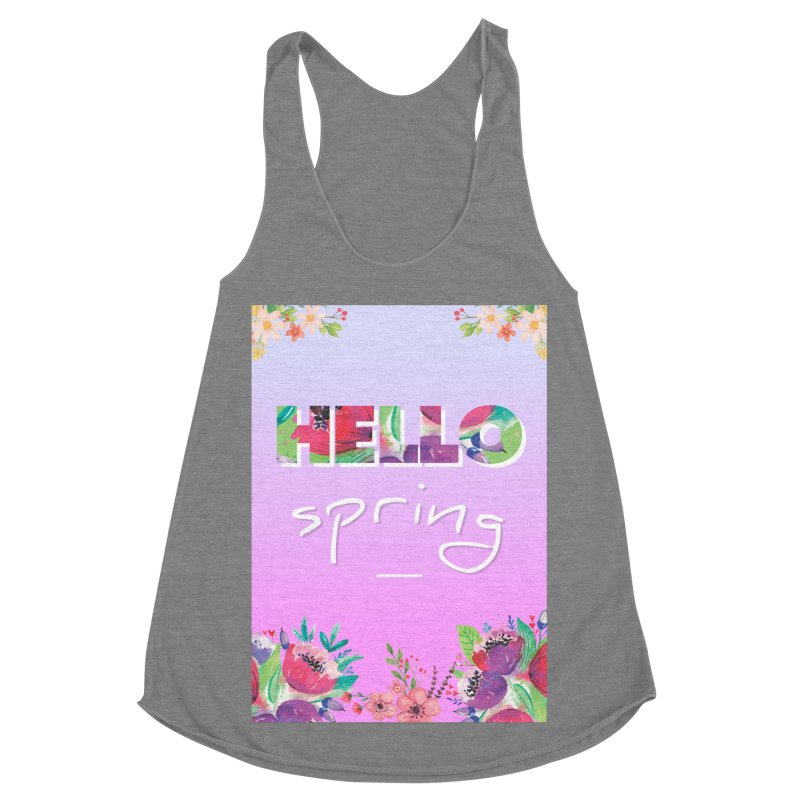 Hello Spring Women's Racerback Triblend Tank by ALMA VISUAL's Artist Shop