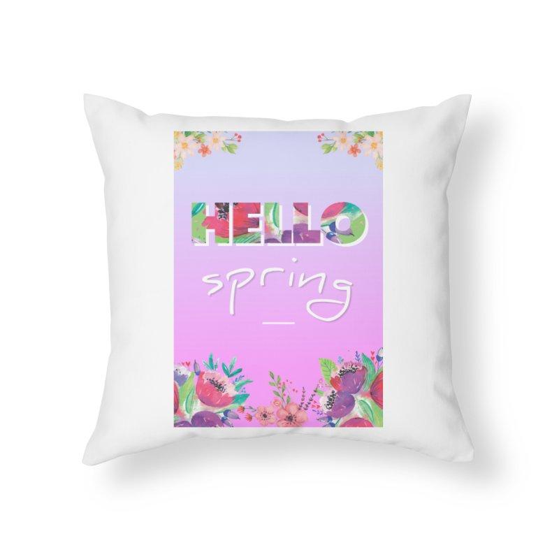 Hello Spring Home Throw Pillow by ALMA VISUAL's Artist Shop