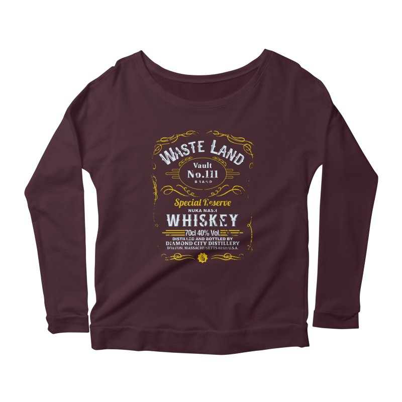 Wasteland Whiskey - distressed Women's Longsleeve Scoopneck  by AMODesign's Artist Shop