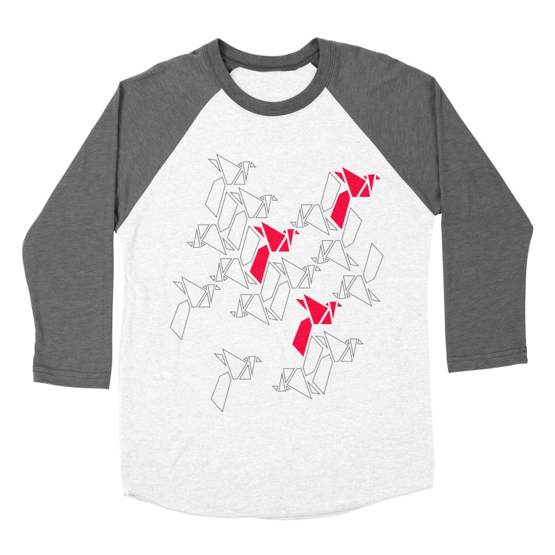 Origami Bird 1 in Women's Baseball Triblend T-Shirt Tri-Grey Sleeves by ANTHROPOLESLEY