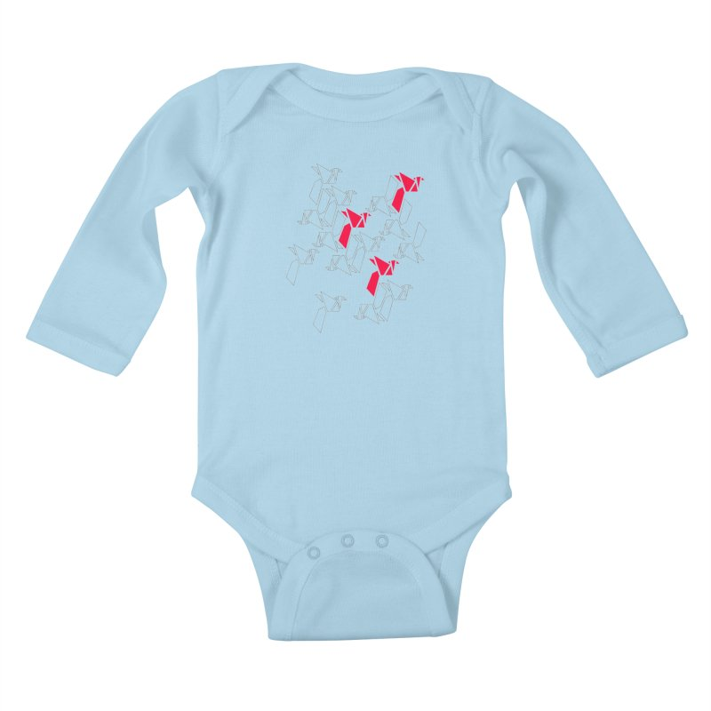 Origami Bird 1 Kids Baby Longsleeve Bodysuit by ANTHROPOLESLEY