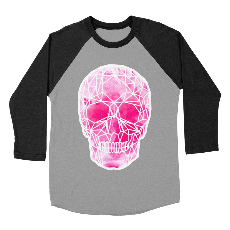 Crystal Skull Pink Men's Baseball Triblend Longsleeve T-Shirt by ANTHROPOLESLEY