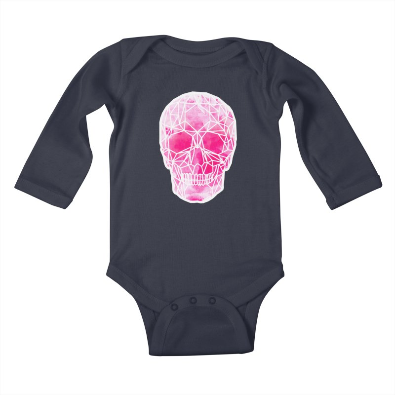 Crystal Skull Pink Kids Baby Longsleeve Bodysuit by ANTHROPOLESLEY