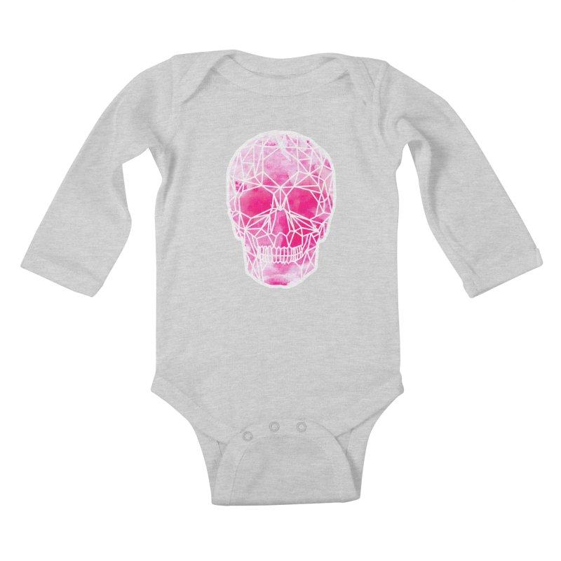 Crystal Skull Pink Kids Baby Longsleeve Bodysuit by ANTHROPOLESLEY