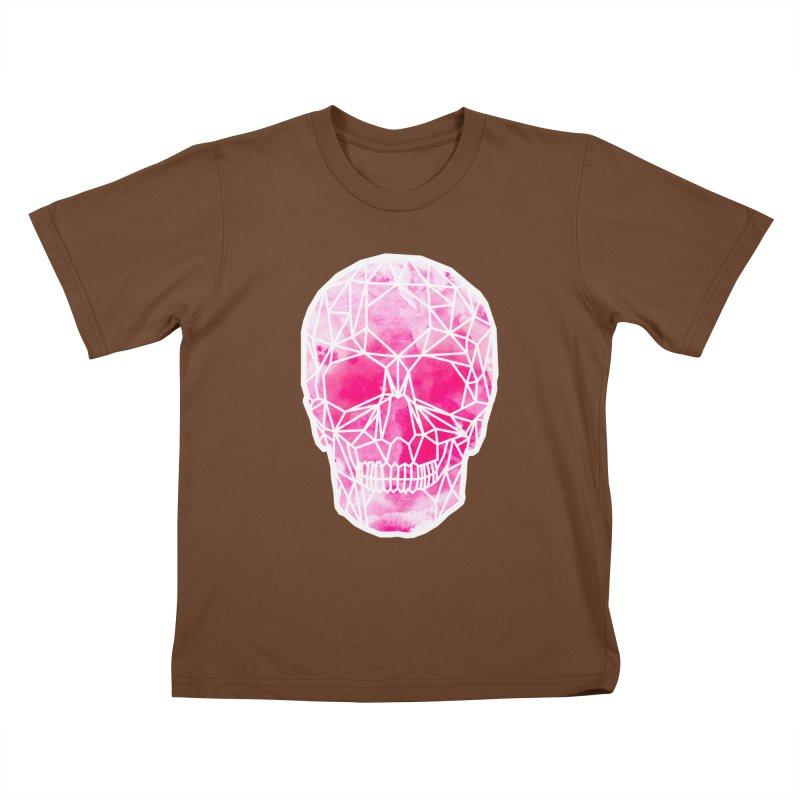 Crystal Skull Pink Kids T-Shirt by ANTHROPOLESLEY