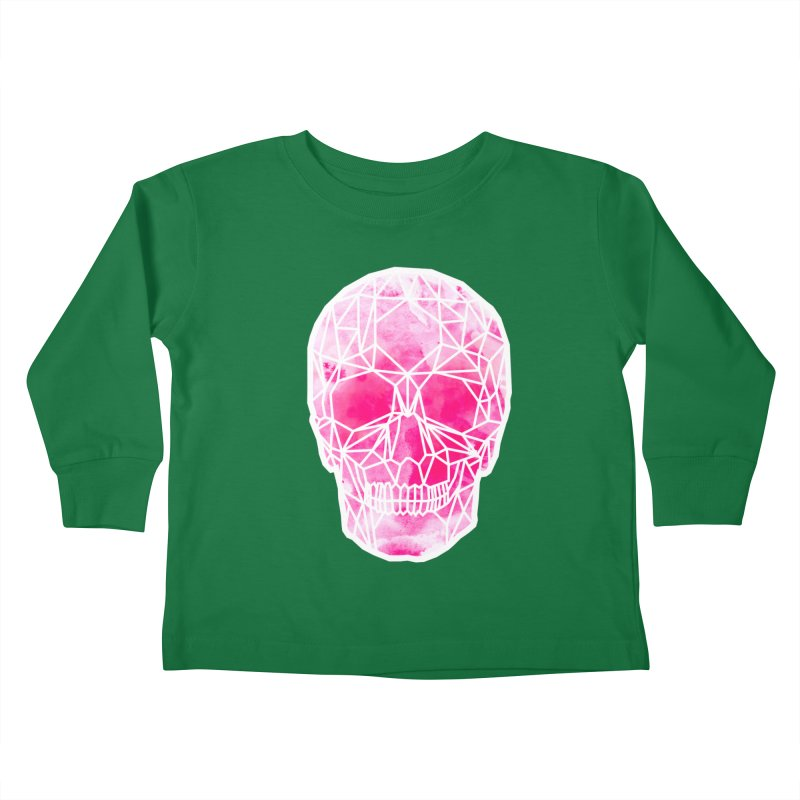 Crystal Skull Pink Kids Toddler Longsleeve T-Shirt by ANTHROPOLESLEY
