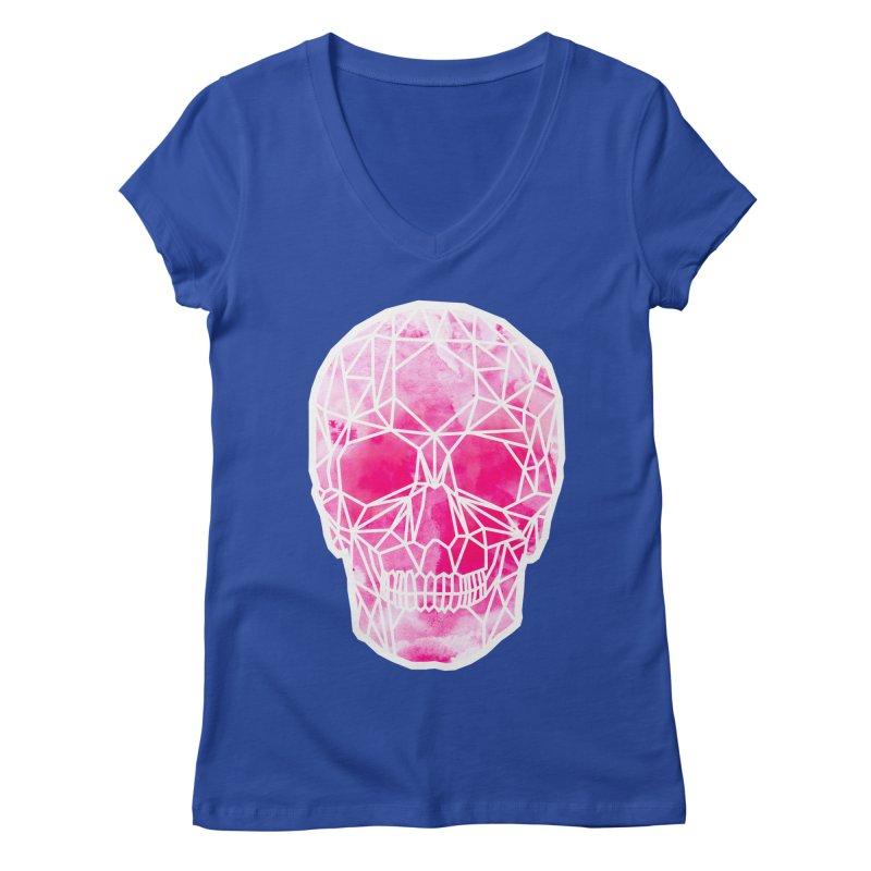 Crystal Skull Pink Women's Regular V-Neck by ANTHROPOLESLEY