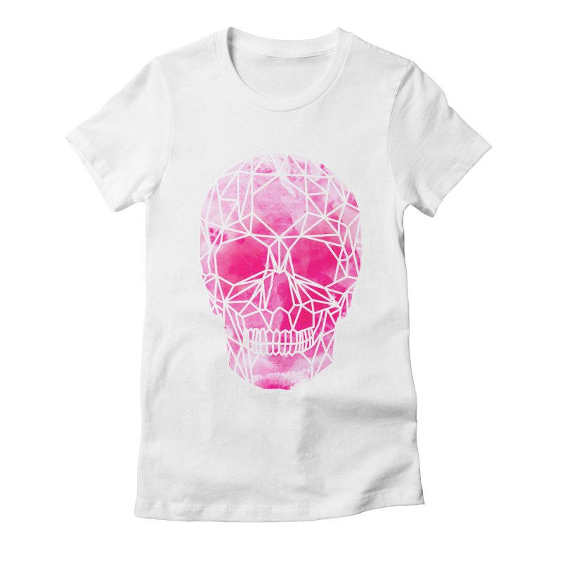 Crystal Skull Pink Women's Fitted T-Shirt by ANTHROPOLESLEY