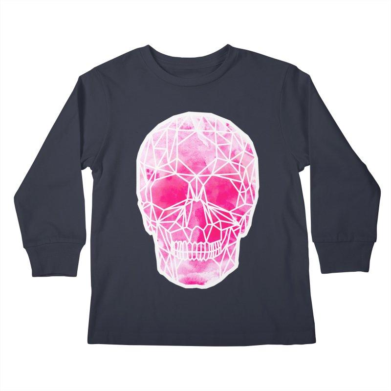 Crystal Skull Pink Kids Longsleeve T-Shirt by ANTHROPOLESLEY